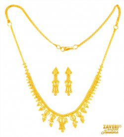 22 K Gold Necklace Earrings Set ( 22K Light Necklace Sets )