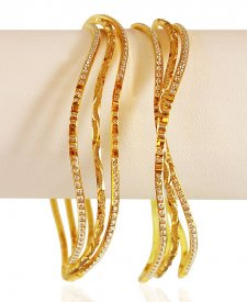 22kt Gold Rhodium Bangles set
