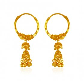 Hoop Earrings 22 Karat Gold  ( 22K Gold Hoops )