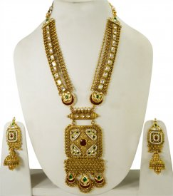 22K Gold Antique Long Bridal Set ( 22K Necklace Sets (Long) )