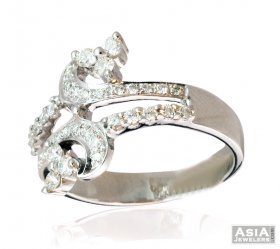 Double Sided Fancy Diamond Ring 18K ( Diamond Rings (Ladies) )