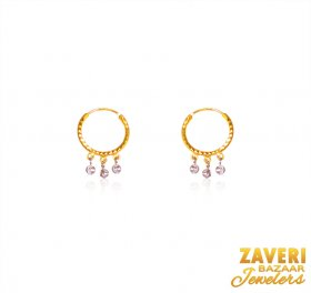 22Karat Gold Beads Hoop ( 22K Gold Hoops )