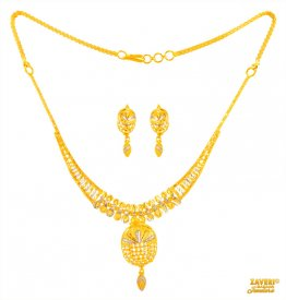 22 kt two tone Gold Necklace Set ( 22K Light Necklace Sets )