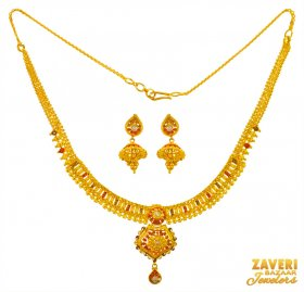 22Kt Gold Three Tone Necklace Set ( 22K Light Necklace Sets )