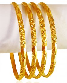 22K Gold Machine Bangles (4 Pc) ( 22K Gold Bangles )