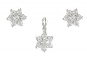 White Gold Pendant and Earrings Set ( White Gold Pendant Sets )