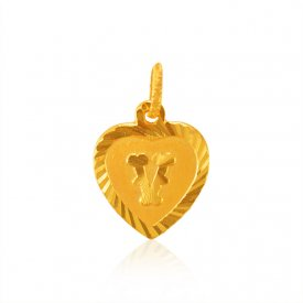 Initial (v) Gold Pendant ( Gold Initial Pendants )