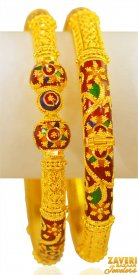 22kt Gold Meenakari Pipe Kada (2pc) ( 22K Gold Kadas )