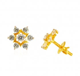 22kt Gold Earrings with CZ ( 22K Gold Tops )