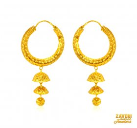 Frosty Finish Gold Bali (22 kt) ( 22K Gold Hoops )