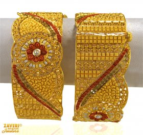 22 KT Gold three tone Kada ( 2 PCS) ( 22K Gold Kadas )
