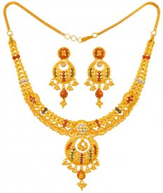 22k Three Tone Necklace  Set