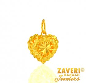 22 Karat Gold Fancy Heart Pendant ( Gold Fancy Pendants )