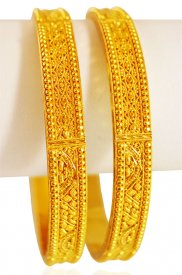 22K Gold Filigree Bangles(2pcs)