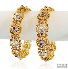 Fancy Gold Ruby Bangles (2PC) ( Precious Stone Bangles )