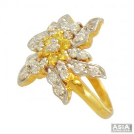 22K Colored Signity Flower Ring