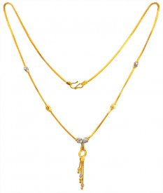 22Karat Gold Two Tone Ladies Chain ( Gold Fancy Chains )