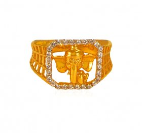 22 kt Gold  Mens Ganesha Ring ( Gold Religious Rings )