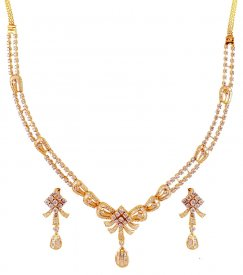 18K Yellow Gold Diamond Set ( Diamond Necklace Sets )