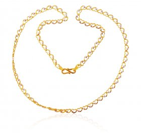 22K 2 Tone Heart Chain  ( Gold Fancy Chains )