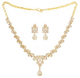 18K Yellow Gold Diamond Necklace Set ( Diamond Necklace Sets )