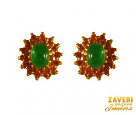 22 Kt Gold with Emerald Stone ( Gemstone Earrings )