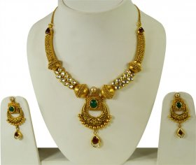 22 Karat Gold Antique Set  ( 22K Antique Necklace Sets )