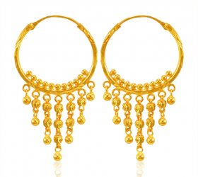 22 Karat Gold Bali Earrings ( 22K Gold Hoops )