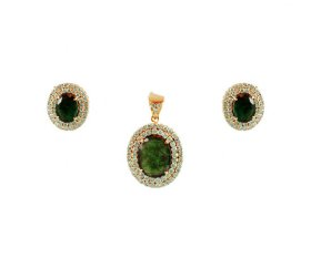 18k Emerald and Diamond Pendant Set