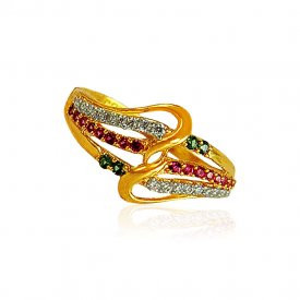 22karat Gold Ring with Ruby and Emerald for Ladies.
