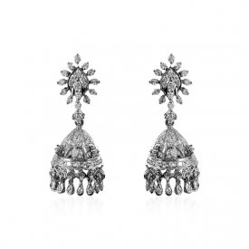 18kt Whit Gold Diamond Jhumki ( Diamond Earrings )