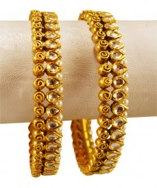 Antique Kundan Kadas 22 Karat Gold  ( 22K Antique Bangles )
