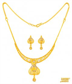22Kt Gold Two tone Necklace Set ( 22K Light Necklace Sets )