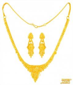 22 Kt Gold Necklace Earrings Set
