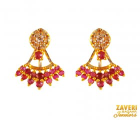 22K Fancy Ruby with CZ Earrings  ( Gemstone Earrings )