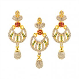 22K Designer Pendant Set ( Gold Fancy Pendant Sets )
