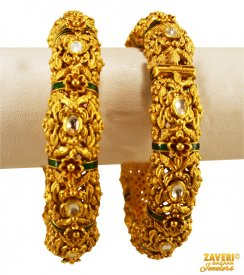 22K Gold Antique Kadas  ( 22K Antique Bangles )