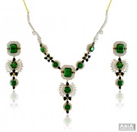 22k Colored Stones Necklace Set ( Stone Necklace Sets )