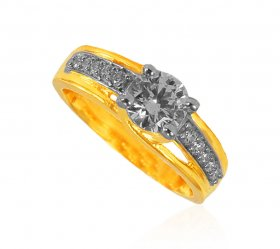 22K Gold CZ Ladies Ring