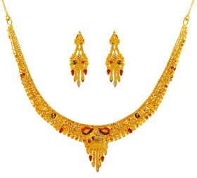 Tricolor 22K Necklace Set ( 22K Light Necklace Sets )