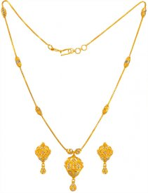 22 Kt Gold Two Tone Necklace Set