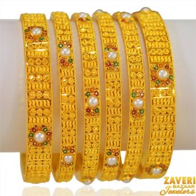 22k Gold Meenakari Bangles Set ( Gold Bangle Sets )