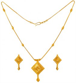 22kt Gold Necklace and Earrings Set ( 22K Light Necklace Sets )