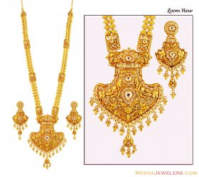Gold Antique Long Patta Haar Set ( 22K Necklace Sets (Long) )