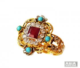 22K Traditional Ruby And Turquoise ( 22K Gold Rings )
