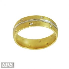 Two Tone Diamond Mens Ring(18k)
