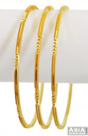 22K Machine Cut Bangles(3 pc) ( 22K Gold Bangles )