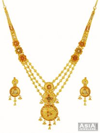 22K Gold Three Tone Set ( 22K Gold Necklace Sets )
