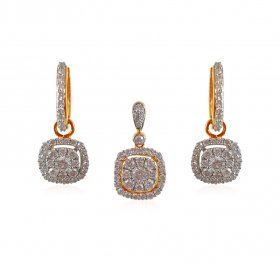 18kt Gold Diamond Pendant Set