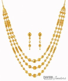 22K Gold Layered Necklace Set ( 22K Gold Necklace Sets )